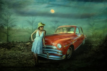 Former Times - girl, vintage, car, posing, manipulation, moonlight