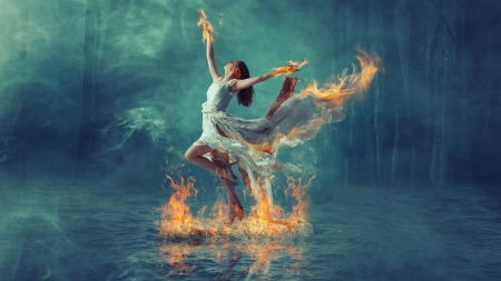 Burning Dance - fire, water, girl, manipulation