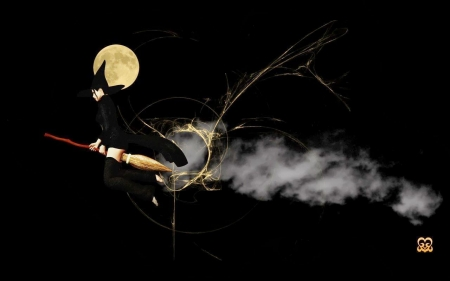 witch - witch, moon, broomstick, smoke