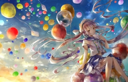 :) - colorful, balloon, aky, uu, girl, anime, manga, tagme, misaki yuu