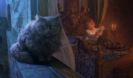 Tommen Baratheon and Balerion - game of thrones, copil, child, pisici, cat, joshua cairos, black, boy, fantasy, room