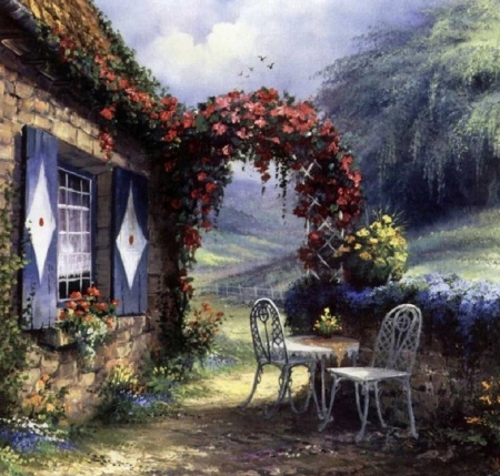 Rendez - vous in nature - windows, table, house, lovely, splendor, garden, flowers, beautiful, reign