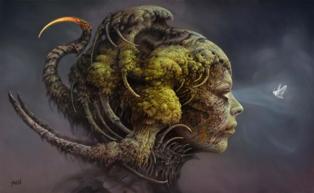 :) - butterfly, girl, profile, painting, tomasz alen kopera, face, art, horns, moth, pictura