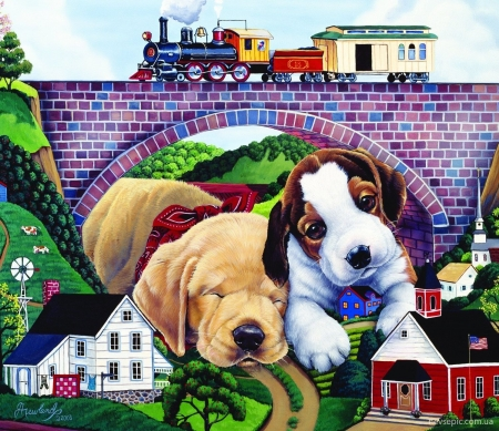 Puppies - cute, art, train, toy, caine, jenny newland, puppy, dog