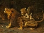 Cupid playing with lions