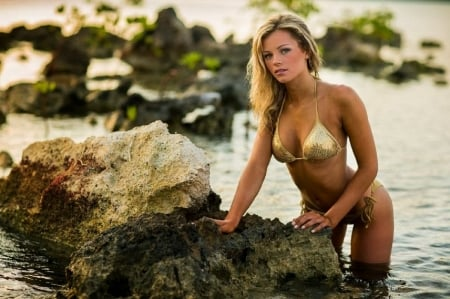 Rachel Nichols - rocks, golden coloured bikini, blonde, on shore, green plants