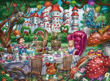 Alice in Wonderland - white rabbit, bunny, pink, madhatter, alice, wonderland, tea, fantasy, sergio botero, green, party, castle