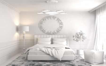 fully white - bedroom, white, stylish, modern, photography, interior