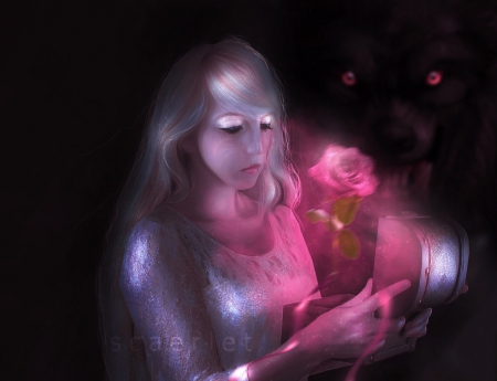 A rose from The Beast - girl, rose, luminos, pink, art, the beast, belle, fantasy, scaerlet, beauty, princess