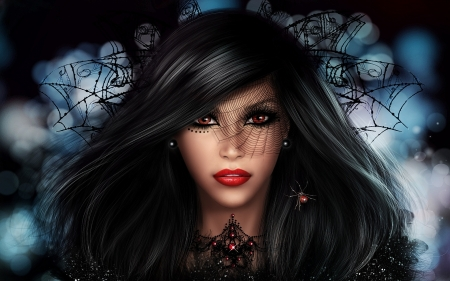Gothic Girl - digital, art, hair, face