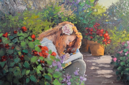 Summer Mood - girl, reading, painting, flowers, book, peaceful, relaxing, trees