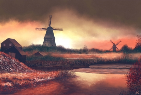 Windmills - house, sun, water, grass, windmills, refection, sky, clouds, trees