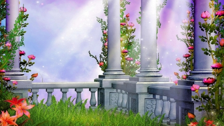 Fantasy Garden - art, flowers, pillars, roses