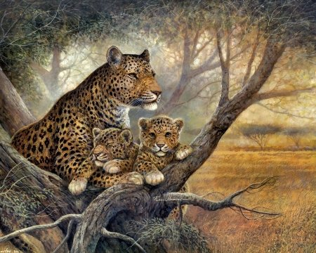 Resting in the tree - Leopards, 1600x1280, mom, Ruane Manning, cubs, mother, illustration, trees, cute, spots