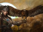 Girl with eagle