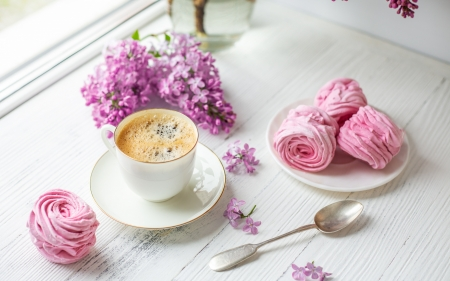 Take a break! - lilac, food, coffee, cooke, cup, white, pink, sweet, flower