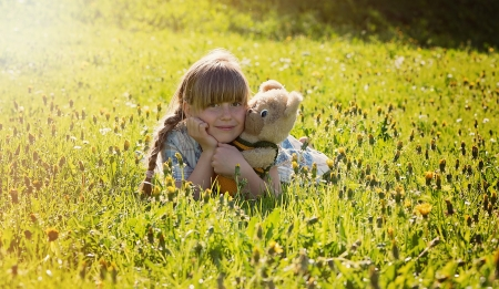 Little girl - photography, green, people, love, beauty, child, face, pink, bonny, Belle, lovely, comely, lying, pure, blonde, smile, baby, cute, girl, summer, nature, childhood, white, pretty, grass, teddy, adorable, sweet, sightly, nice, wallpaper, Hair, little, bear, DesktopNexus, beautiful, dainty, kid, fair, princess, outdoor