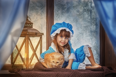 Little girl - fair, nice, wallpaper, people, beauty, child, Belle, bonny, lamp, leg, window, comely, pure, smile, cat, baby, hat, sit, girl, feet, barefoot, princess, pretty, adorable, sightly, sweet, face, lovely, blonde, cute, white, Hair, little, DesktopNexus, beautiful, dainty, kid, photography, pink, childhood
