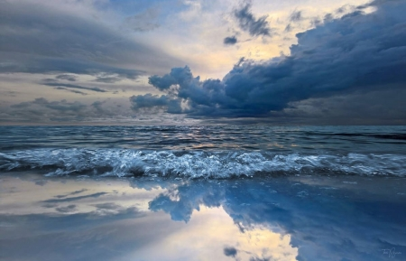 Helsinki~Finland - beach, sun, horizon, sand, ocean, waves, clouds, reflection