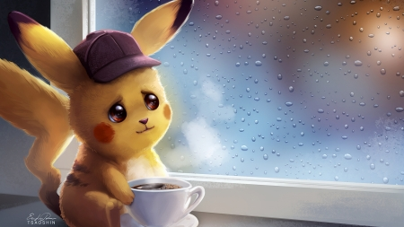 Pikachu drinking coffee - fantasy, coffee, tsaoshin, yellow, pokemon, pikachu, art, window, cute, cup