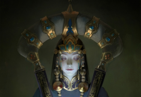 Priestess - art, fantasy, luminos, girl, priestess, jewel, face, minhua fang