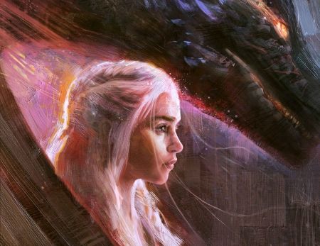 Mother of dragons - art, fantasy, girl, game of thrones, rmusiclife, daenerys targaryen, dragon, pink, luminos