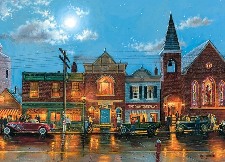 Evening Service - cars, bakery, houses, people, city hall, painting, artwork, street