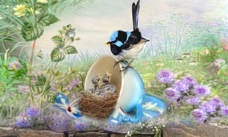 Feed Time - feeding, Butterflies, cup and saucer, painting, flowers, sweet, Birds, softness