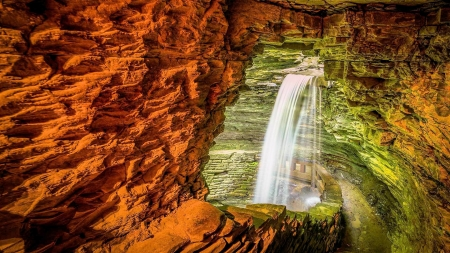 Waterfall in a Cave - path, rocks, river, cascade