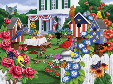 Back Yard Party - party, july, american, 4th, puzzle