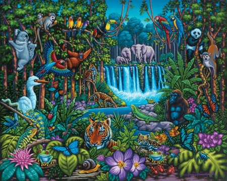 Wild Jungle art - trees, animals, art, house, greenery, puzzle, ware, water, painting, jungle, waterfall, flowers