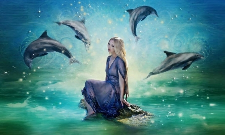 Fantasy Dancing Dolphins - dolphins, ocean, dreamy, water, enchanting, Fantasy woman, magical