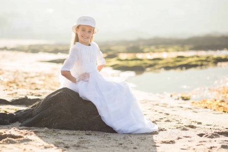 Little girl - photography, stone, people, beauty, child, face, pink, bonny, Belle, lovely, comely, pure, blonde, smile, fun, baby, hat, sit, cute, water, girl, childhood, white, pretty, Rock, adorable, sweet, sightly, nice, wallpaper, Hair, little, DesktopNexus, beautiful, dainty, kid, fair, princess, outdoor