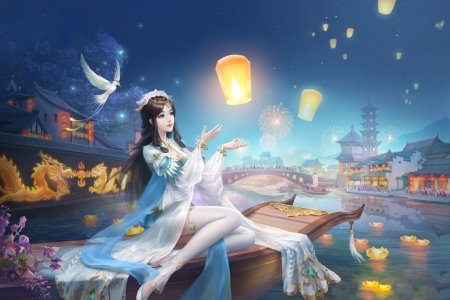 Doves and Lanterns - art, fantasy, doves, girl, lantern, wallpaper, digital, woman, beautiful