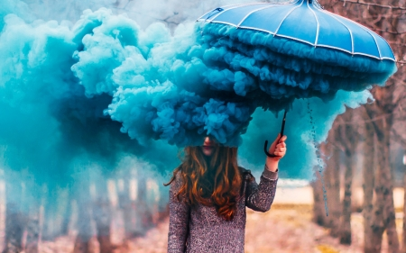 ♥ - blue, model, girl, umbrella, dust, creative, smoke, womna