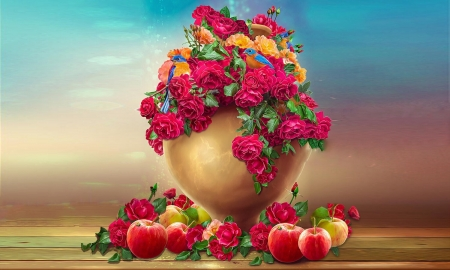 Apples and Flowers - lovely, apples, vibrant, Flowers, roses, floral, red, colorful, digital art, Vase