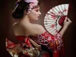 Red And White Hand Fan With Woman