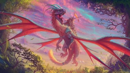 Red Dragon - weapons, trees, sky, flight, art