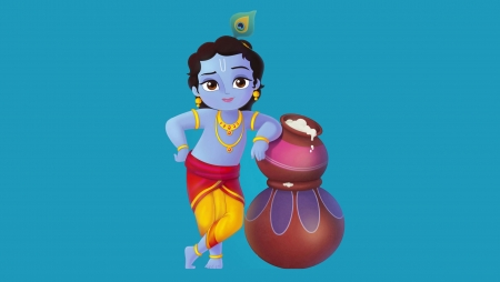 Little Krishna 3d And Cg Abstract Background Wallpapers