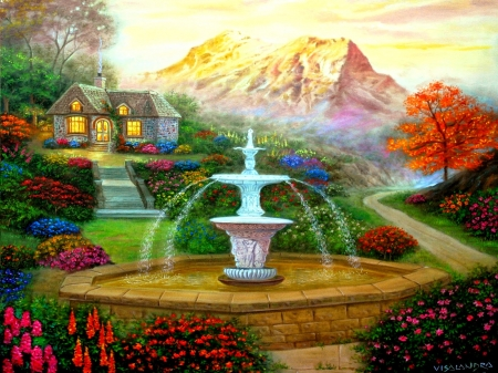 Colorful Garden - garden, foutain, colorful, painting, cottage