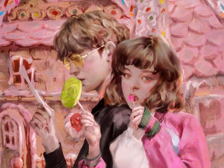 Hansel and Gretel - pink, hansel and gretel, couple, art, lollipop, luminos, children, dong gun yoon, boy, fantasy, girl, copil