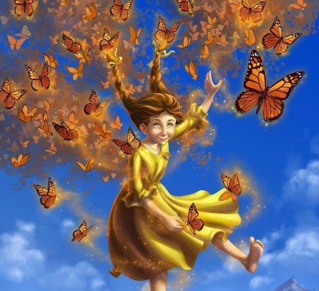 ♥ - illustration, art, dress, luminos, orange, yellow, magic, fantasy, girl, butterfly, laura diehl, flying, blue