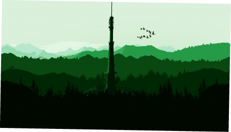 green mountain - nature, green, creativity, graphic