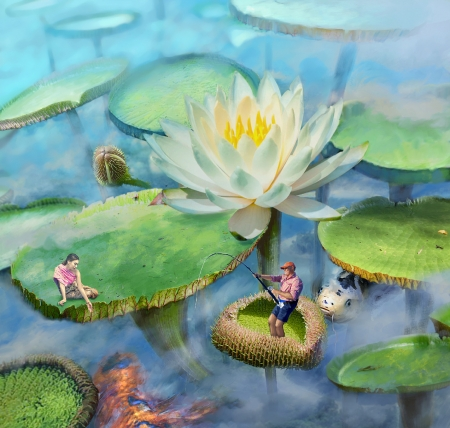 Fishing season - lotus, emmagucci art, luminos, fish, peste, man, fantasy, vara, water, green, girl, flower, summer, white, blue, couple