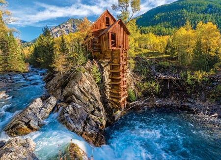 Crystal Mill, Colorado - river, watermill, rocks, hills, mountains, trees