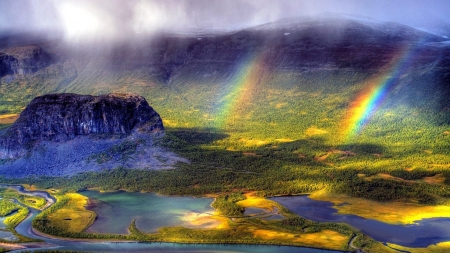 double rainbow - mountain, water, nature, rainbow