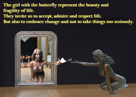 butterfly girl bronze statue in the mirror - meaning, statue, butterfly, girl, great, beautiful, sculpture, gorgeous, art
