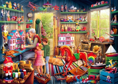 Toymaker's Workshop - working, toys, painting, children, man, tools, artwork