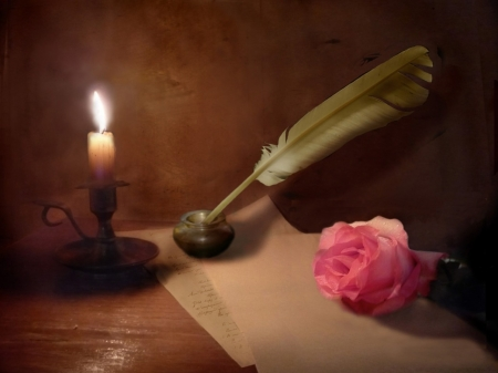 Love Letter - rose, ink, romantic, feather, love, pink, letter, candle, pen, light