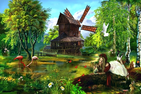 Windmill - trees, lake, landscape, Windmill, birch, butterflies, ladybird, pigeon, flamingos, girl, flowers, nature, hare